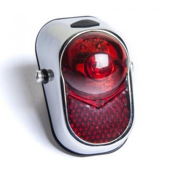 REAR LIGHT CHROME RETRO LED RED BATTERY