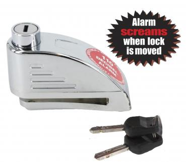BRAKE DISC LOCK CHROME 5.5 MM WITH ALARM